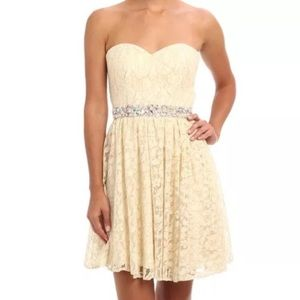 FAVIANA CREAM STRAPLESS EMBELLISHED SHEATH DRESS
